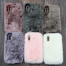cover case plush 2019 - Genuine Rabbit Hair Plush Case For Galaxy S10 Plus S10e Lite A6S Huawei P30 Pro Bling Diamond Fluffy Fur Girl Soft TPU C