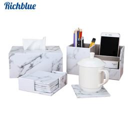 $enCountryForm.capitalKeyWord Australia - Fashion Marble PU leather Tissue box 6 pcs set Cup Coaster Marble Mats Storage Box Pen Holder Desk organizer sets