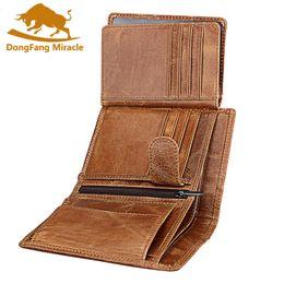 Опт Мужчины бумажник мягкая натуральная кожа бумажник большой емкости кошелек старинные монеты карман RFID щетка держатель карты вертикальный