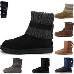 Wholesale High Quality Australia Women s Classic tall Kneel Ankle Boots Womens Triple black coffee navy blue boots Boot Snow Winter leather boots
