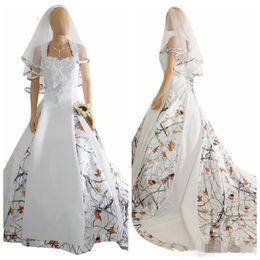 Vintage Lace Corset Wedding Dress Australia - Vintage Camo Satin Wedding Dresses Custom Lace Appliques Lace Up corset Back Long Camouflage New Western Country Bohemian Bridal Dress