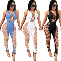fashion party jumpsuits NZ - 2019 Hot Sell Fashion Summer Sleeveless Patchwork Lace-Up Hollow Out Full Length Pant Sexy Club Party Skinny Women Jumpsuits F40