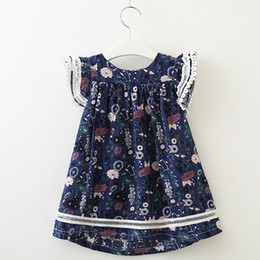 Discount very good flowers Baby girls floral Flying-sleeve Dresses kids cotton flower skirts children summer boutiques clothing very good quality