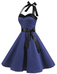 summmer kleider großhandel-2019 summmer neueste frauen vintage dress polka dot retro cocktail prom party dress land rock verband dress