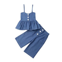 toddler girl ruffle leggings NZ - 1-6Y Toddler Kids Baby Girls Clothes Sets Blue Ruffle Tops Wide Leg Jeans Leggings 2Pcs Outfits Clothes