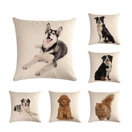 dog chairs Australia - Cute Pet Dogs Cats Printing Cushion Cover Square Linen Pillowcase Home Decorative Soft Throw Chair Car Sofa Pillow Cover ZY360