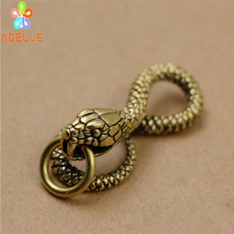 Vintage Christmas Ornament Australia - 100% Solid Brass Vintage SNAKE Carving Handmade Keyring Car Accessory Jelwery Pendant Gift Finding DIY decor Free Shipping