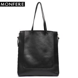 $enCountryForm.capitalKeyWord UK - MONFERE Large Cow Leather Tote Bags Women Luxury Handbags Designer leather Bucket High Quality Flat Shoulder Zip Shopping Bags