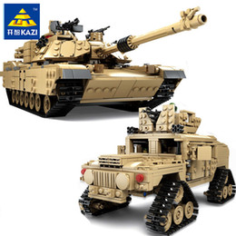 kazi blocks Australia - KAZI New Theme Tank Building Blocks 1463pcs Building Blocks M1A2 ABRAMS MBT KY10000 1 Change 2 Toy Tank Models Toys For Children
