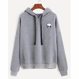 alien clothes NZ - Fantastic Woman's Alien Hoodies Skull Long Sleeves cropped hoodie harajuku Thicken Warm Female Clothes Gray Black free shipping