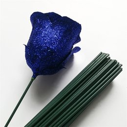 white craft wire 2019 - 10pcs lot 13cm Artificial Green Flower Rod DIY Floral Material Flower Accessory Iron Wire Craft Wedding Home Decoration