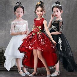 Dresses for 14 year girls online shopping - Girls Sleeveless Princess Children Handmade Flowers Girl Dress for Wedding Years Girls Trailing Party Prom Dresses
