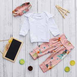 Floral Print Shirts Baby NZ - good quality Baby Girls rompers Ruched Tops Shirt+Floral Print Pants Outfits Sets roupa de menina vetement enfant fille