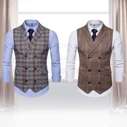 $enCountryForm.capitalKeyWord Australia - Business Men Casual Plaid Pattern Double-breasted Sleeveless Formal Waistcoats Dress Suit Vest Presents for men
