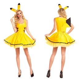 cute halloween costume women 2020 - Pika Designer Women Cosplay Costume Yellow Cute Stage Clothes Dress cheap cute halloween costume women