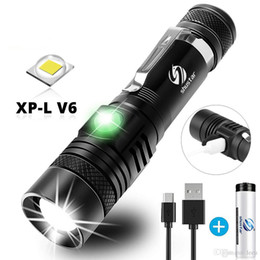 waterproof divers torch Canada - LED Flashlight With XP-L V6 LED lamp beads Waterproof Torch Zoomable 4 lighting modes Multi-function USB charging