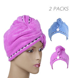 Microfiber Hair Drying Cap NZ - Microfiber Quick Dry Hair Cap Towel Super Absorbent Head Wrap Hair Hat Shower Bath Towels 2pcs for Womens Girls Man