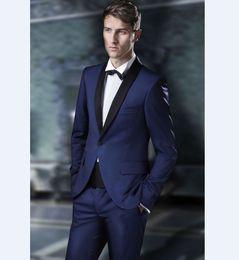 Dark Green Tie Grey Suit Australia - Custom Made Groomsmen Shawl Black Lapel Groom Tuxedos 2019 Navy Blue Men Suits Wedding Best Man (Jacket+Pants+Tie)