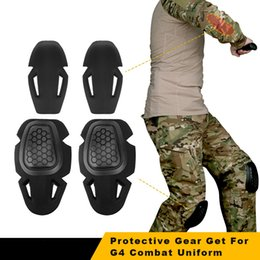 orange knee pads UK - Tactical Knee Pad Protective Gear Set for G4 Combat Uniform Paintball Airsoft Protector Sports Safety Knee Elbow Pads T200615