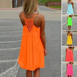 sleeveless work dresses Canada - Sexy Womens Summer Casual Sleeveless Evening Party Backless Beachwear Mini Dress Multiple Colors Female Fashion Loose