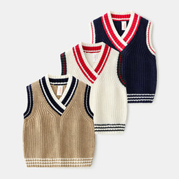 $enCountryForm.capitalKeyWord Australia - baby Boy kids clothing sweater Vest V-neck Knitted Solid Color Pullover sweater 100% Cotton Boutique Girl boy spring fall sweater