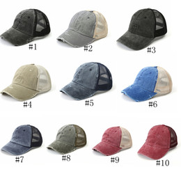 vintage hats netting NZ - Washed ponytail Baseball Cap Women Messy Bun Baseball Hat Snapback Vintage Dyed Low Profile Adjustable Hats Sun Caps Net Hat GGA3153-2