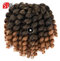 $enCountryForm.capitalKeyWord Australia - 8inch Ombre Jumpy Wand Curl Crochet Braids 22 Roots Jamaican Bounce Synthetic Crochet Hair Extension for Black Women 2019