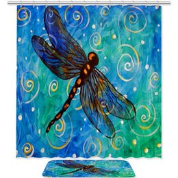 dragonfly hooks NZ - Dragonfly Starry Sky Bath Curtain Set Decor Waterproof with 12 Hooks and Anti-Slip Bath Floor Mat Rug for Bathroom