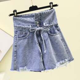 $enCountryForm.capitalKeyWord NZ - New Holes Cowboy Shorts Female Summer High Waist Slim A-line Short Jean Womans Wide Legged Pants Students Girls Loose Hot Pants