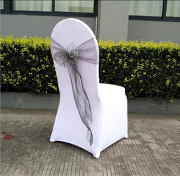 white wedding chairs wholesale Canada - 18*275cm Organza Chair Cover Sashes Sash Sashe Bow Wedding Party decorate Banquet 35 Color White Red