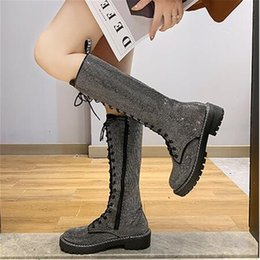 silver lace up Australia - Fashion Sexy Women's Lace-Up Knees High Long Boots Bling Rhinestone Leather Platform Boots Black Silver Zapatos De Mujer T191105