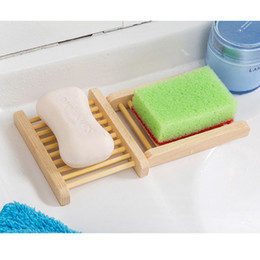 Wholesale Natural Wooden Soap Dish Wooden Soap Tray Holder Creative Storage Soap Rack Plate Box Container For Bath Shower Bathroom Supplies DBC BH2964