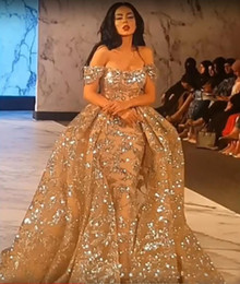 Discount arabic designers evening gowns - Yousef Aljasmi Sparkly Arabic gold prom dresses detachable train Mermaid Off Shoulders Overskirt designer evening gowns