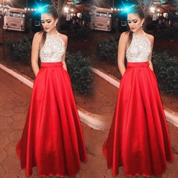 $enCountryForm.capitalKeyWord Australia - White Red Sparkle Sequin Evening Dresses Deep V Neck Sexy Low Back Long Prom Dress Cheap Pageant Gowns Special Occasion Wear 2019