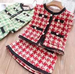 $enCountryForm.capitalKeyWord Australia - Fall new Girls princess outfits kids pearls buckle plaid waistcoat outwear+lattice pleated skirt 3pcs sets laty style children clothing F953