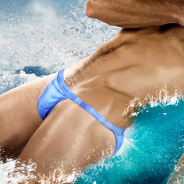 Mens Beach Bikini NZ - Mens Sexy Swimwear Low Rise Swim Brifs Thongs Jockstrap G-string Swimsuit Bikini Lycra Soft Beach Surf Board Shorts Hawiian Bathing Suit New