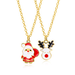 China Cute Santa Claus Christmas Elk Necklace Pendant Cute White Beard Santa Claus Presents Gifts Necklace Pendant To Children supplier beard charms suppliers