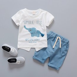 $enCountryForm.capitalKeyWord Australia - Summer Children Clothing Cute Elephont Short Sleeved T-shirt Tops Shorts 2PCS Outfits Boys Sport Suits Kids Bebes Jogging