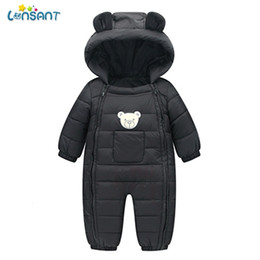 boys black rompers Australia - LONSANT Rompers Baby Winter Pockets Hooded Baby Boy Clothes Dos Desenhos Animados Menina Infantil Children'S Winter Rompers N30MX190912