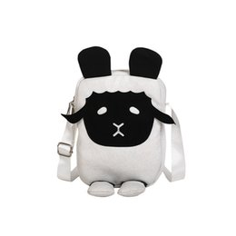 $enCountryForm.capitalKeyWord Australia - Funny Lamb Style Canvas Satchel Handbags Women Messenger Shoulder Bag Girls Mini Purse Black White Sheep Design Crossbody Bag