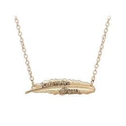 $enCountryForm.capitalKeyWord UK - Feather Sideways Diagonal Pendant Bohemian Style Antiqued Silver Necklace For Women