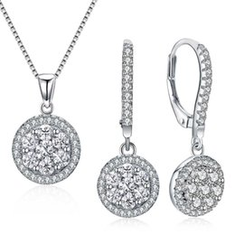 pc jewellery UK - New Real 925 Sterling Silver Necklace Earrings Fine Jewelry set Round Pretty Suspension 2 PCS Jewellery sets for women