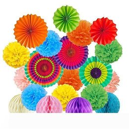 honeycomb decorations wholesale UK - B 19Pcs Set Rainbow Hanging Decorations Set Paper Fans Tissue Paper Pom Poms Flower and Honeycomb Balls for Birthday Party Wedding baby