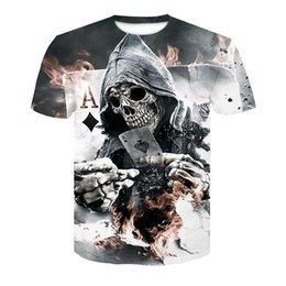 Ivory Lycra Shirt Australia - 2018 New Mens Summer Skull Poker Print Men Short Sleeve T-shirt 3D T Shirt Casual Breathable T-shirt Plus-size T-shirt
