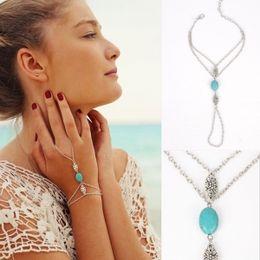 $enCountryForm.capitalKeyWord Australia - Maxi hot sale Fashion hollow-out floral turquoise bracelet link to the finger