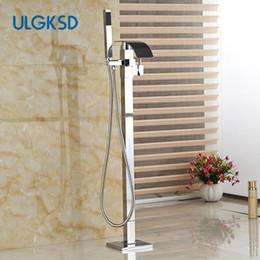 $enCountryForm.capitalKeyWord Australia - Chrome Single Handle Waterfall Free standing Faucet with handshower Floor Mounted Bathtub Mixer Faucet