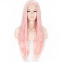 wig lace front hair white 2019 - Fashion Pink Long Straight Wig Glueless Synthetic Lace Front Wigs for White Women Middle Part Heat Resistant Cosplay Wig