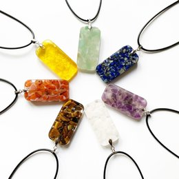 chip pendant NZ - 7 Chakra Stone Beads Chips Geometric Pendant Orgonite Energy Necklace Resin Jewelry Healing Crystal Necklace Chain Jewelry 1pc
