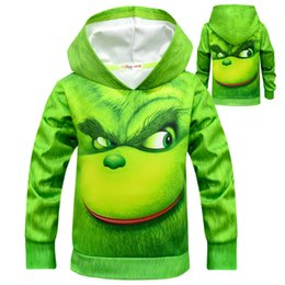 2020 New Kids Clothes Hoodieds Verde Moletons 3D Monstro Grinch Mascot Hoodie Grinch Stole camisola do Natal para meninas miúdos Hoodies