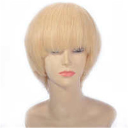 Straight Bangs Wig Australia - Brazilian Straight Wig Short Human Hair Lace Front Wigs with Bangs Pre Plucked Blonde Full Lace Wigs Natural Hairline Ping